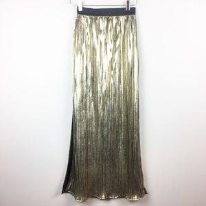 Vintage   Gold Lame Accordion Pleat Maxi Skirt